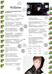 English Worksheets: Mistletoe Song by Justin Bieber