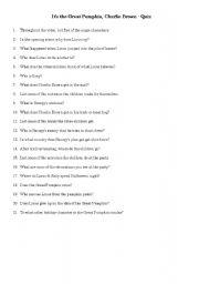 English worksheet: It´s the Great Pumpkin Charlie Brown - Quiz