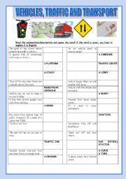 English Worksheet: traffic and transport, vehicles