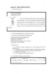 English Worksheets: The genre profile