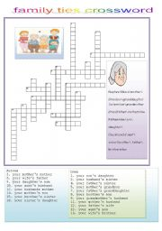 English Worksheet:  family ties crossword