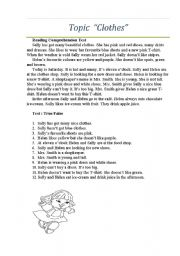clothes reading comprehension test text for reading comprehension for