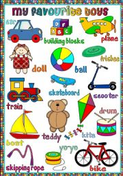 English Worksheets: My favourite toys - poster