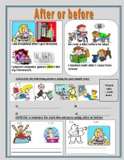 English Worksheet: After or before