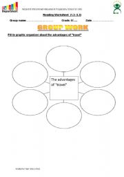 English Worksheets: graphic organizer about the advantagesof tv
