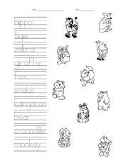 English Worksheets: Animals Writing and Identification