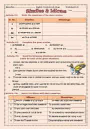 English Worksheets: Similes and Idioms