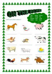 English Worksheets: farm animals