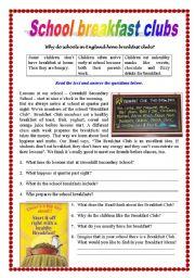 English Worksheet: Reading comprehension - School Breakfast Club