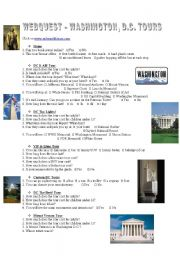 English Worksheet: Webquest Washington, D.C. Tours
