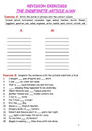 English Worksheet: The Indefinite Article A/An