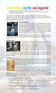 English Worksheets: Colombian Myths and Legends