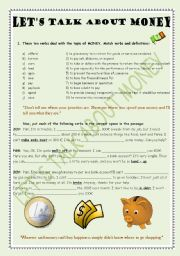 English worksheet: LET´S TALK AND WRITE ABOUT MONEY(with key)