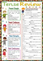 English Worksheet: Present and Past tense review