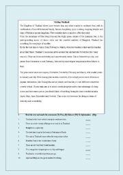 English Worksheet: Visiting Thailand