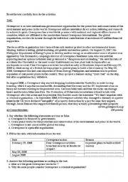 English Worksheets: Green Peace