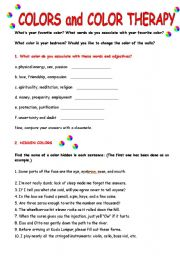 Worksheet Therapy Worksheets english worksheet colors and color therapy
