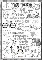 English Worksheet: My toys - matching