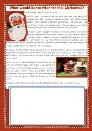 WRITING A LETTER TO SANTA- WHAT WOULD SANTA WISH FOR THIS CHRISTMAS?