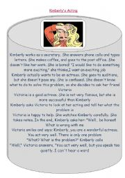 English Worksheets: Kimberly´s acting