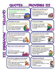 QUOTES AND PROVERBS III - ESL worksheet by GIOVANNI