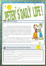 English Worksheets: Peter�s daily life -3 pages