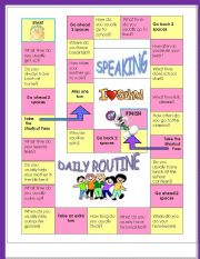 Speaking activity-Daily Routine -  Speaking board Game