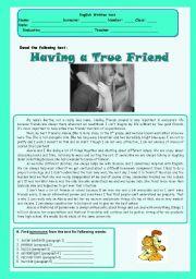 English Worksheets: Test - true friend