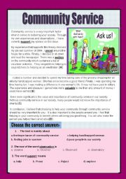 English Worksheets: Reading comprehension ( community service)