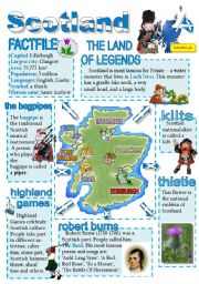 English Worksheet: Scotland-info poster for young learners