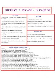 English Worksheets: so that /in case of/ �n case