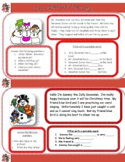 English Worksheet: The Snowman Family