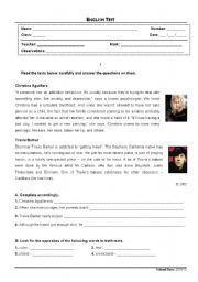 English Worksheet: Test about celebrities� strange addictions