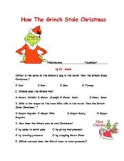 english worksheet how the grinch stole christma - How The Grinch Stole Christmas Activities