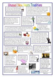 English Worksheet: Unusual New Year Traditions