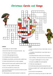 english worksheet christmas carols and songs crossword - Christmas Crossword Answers