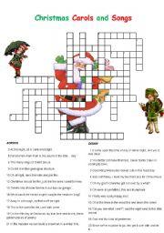 photo regarding Christmas Crossword Puzzle Printable called Xmas Carols and Audio Crossword - ESL worksheet by way of