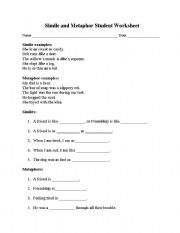 Worksheet Simile And Metaphor Worksheet english teaching worksheets metaphor simile and worksheet