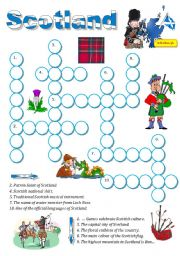English Worksheet: Scotland-a crossword for young learners