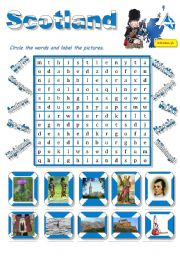 English Worksheet: Scotland-a wordsearch for young learners