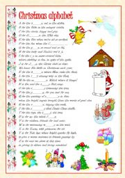 Christmas Words That Start With A.Christmas Alphabet Esl Worksheet By Vale A