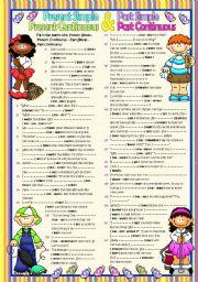 English Worksheet: 4 TENSES *Present Simple&Present Continuous&Past Simple&Past Continuous