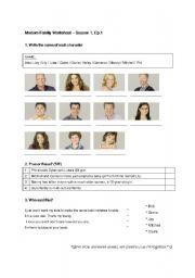 English Worksheet: Modern Family Season1 Ep.1 Worksheet (quite easy one)