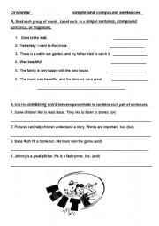 English Worksheet: simple and compound sentences