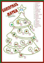 English Worksheet: CHRISTMAS TREE MATCH *editable*