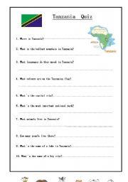 English worksheet: Tanzania Quiz