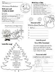 English worksheet: CHRISTMAS ACTIVITY WORKSHEET