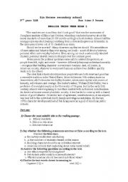 English Worksheet: Ethics in school