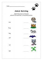 English Worksheets: Animals 1 - Matching *Fully editable