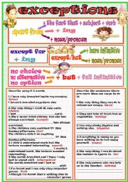 English Worksheets: exceptions
